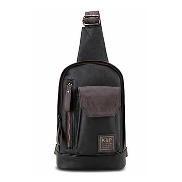 Men PU Sport Small Black Blue Brown Casual Shoulder Crossbody Chest Bag