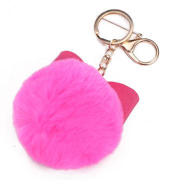 Clé de voiture élégante de charme de sac à main pelucheux bowknot boule de fourrure anneau porte-clés