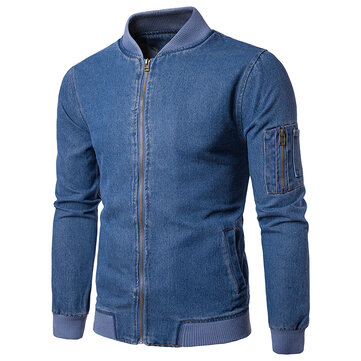 Mens Casual Stylish Denim Zipper Baseball Collar Jacket