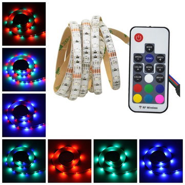 2M 3M 5M USB Waterproof SMD 2835 RGB TV Background Strip Light With 17 Keys RF Remote DC5V