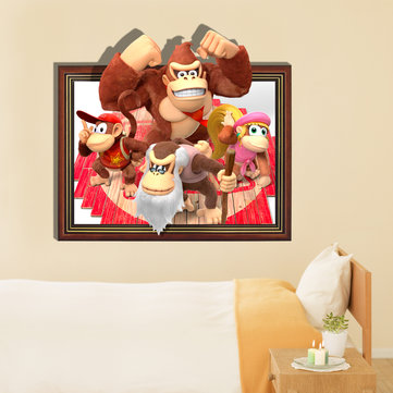 3D Orangutan Family Wall Decals Baby Kids Room Cartoon Removable Paper Stickers Gift