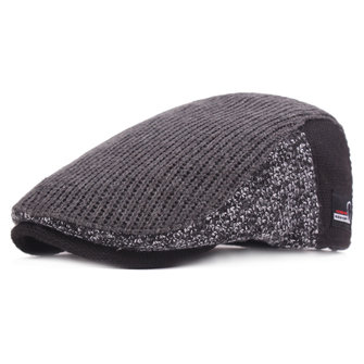 Mens Winter Warm Knitted Beret Caps Thicken Adjustable Golf Cabbie Hat