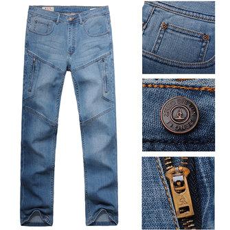Men Casual Summer Autumn Plus Size Multi Pocket Loose Straight leg Cotton Denim Pants