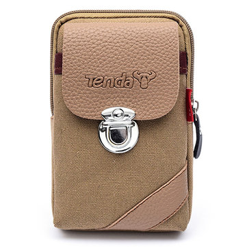 Men Canvas&Leather Belt Phone Bag Waist Bag Outdoor Crossbody Bag for 5.5 in Phones