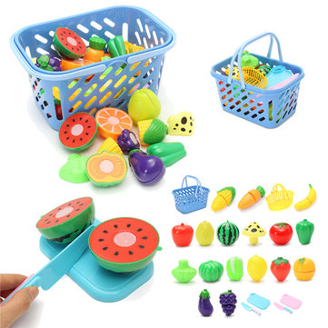 23Pcs/Set Kitchen Cutting Fruit Vegetable Food Pretend Role Play Toys Kids Developmental Toy Gift
