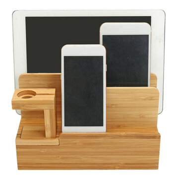 Bamboo Charging Dock Stand Holder Organizer For Apple Watch Smart Phone Tablet