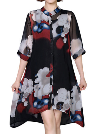 Floral Print Loose Irregular Hem Women Shirt Dresses