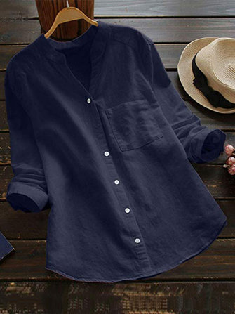 Women Casual Cotton Solid Color V-Neck Button Blouse