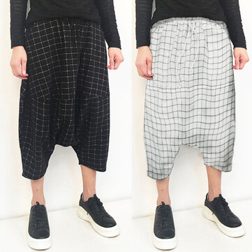 INCERUN Loose Plaid S-5XL Baggy Harem Pants for Men