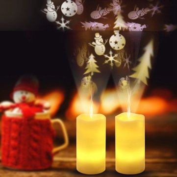 Battery Powered Christmas Snowflake LED Candle Light Flameless Projection Flickering Remote Control