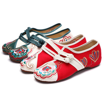 Chinese Embroidered Flower Mary Janes Buckle Casual Flat Loafers