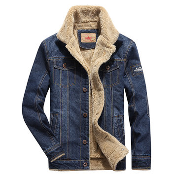 Mens Fashion Denim Thick Warm Winter Turn Down Collar Jacket