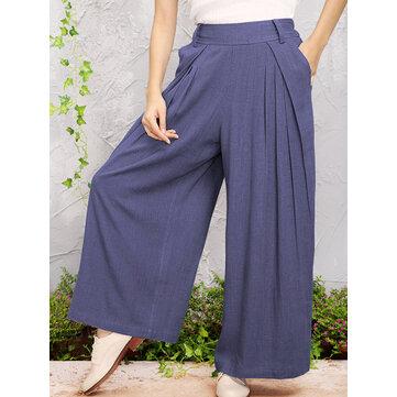 O-NEWE ผู้หญิงเอวยางยืดคอกลมกางเกงขากว้าง