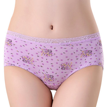 Soft Cotton Mid Waist Lace Printed Antibacterial Hip Lifting Breathable Panties