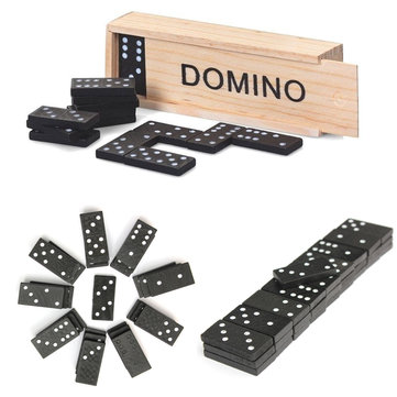 28pcs Children's Wooden Boxed Domino Game Play Set Traditional Classic Toy Gifts