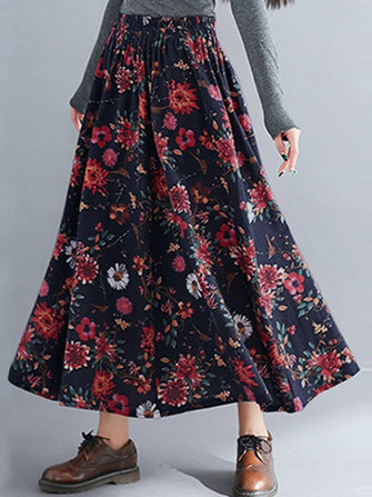 Bohemian Women Floral High Elastic Waist Pleated A-Line Maxi Skirts