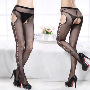 Sexy Open Crotch Mesh Pantyhose Butterfly Jacquard Long Fish Net Stocking For Women