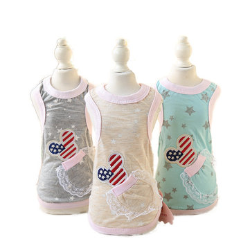 Cartton Mouse Dog Shirt Vest Hoodie Star Soft Cotton Small Dog Clothes Dog Pet Cat Vest