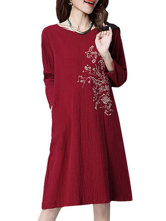 Vintage Loose Embroidery Long Sleeve Cotton Women Dress