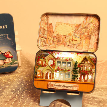 iiecreate T-006 Happiness T-007 New Zealand Farm DIY Tin Box Secret Dollhouse Miniature Gift
