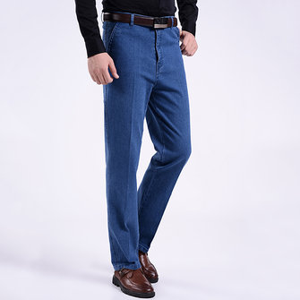 Men Summer Basic Denim Straight Leg Loose Elastic High Waist Cargo Long Jeans