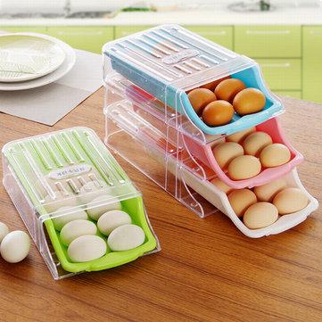 KCASA KC-SR05 냉장고 냉장고 냉동고 쌓을 수있는 슬로프 서랍 달걀 보관함 주최자 컨테이너