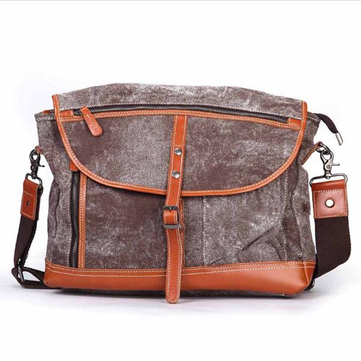 Mannen Vintage Borstel Kleur Canvas Cover Crossbody Bag