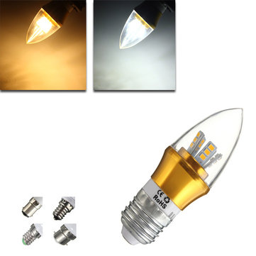 E27/E14/E12/B22/B15 6W LED Warm White/White 25SMD 2835 Golden Candle Light Bulb Lamp 85-265V