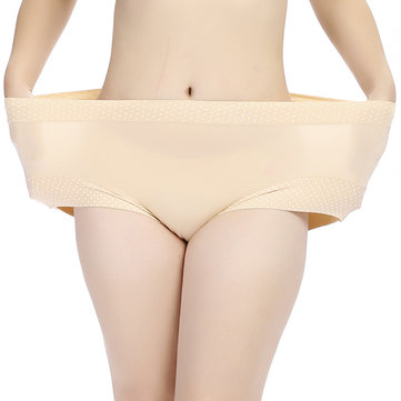 L-2XL High Waist Dot Printing Breathable Elastic Panties Lingerie Intimate For Women