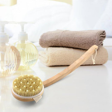 Honana Body Cleaning Brushes Circular Massage Bristle Brush Detachable Bent Wooden Handle Bathing Brush Shower Massage Back Spa Scrubber Wooden Brush Exfoliating Body Wash Scrubber