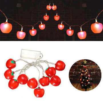 Waterproof 10 LED Battery Apple Shaped Christmas Fairy String Light Outdoor Decor
