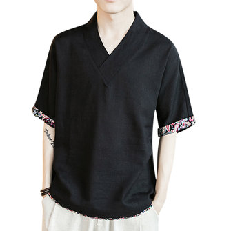 Summer Mens Linen Loose V-neck Print Leisure T-shirts