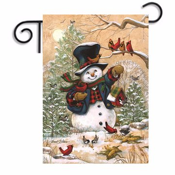 12.5''x18'' Snowman Welcome Flag Christmas Sign Pub Club Shop Cafe Home Decorations