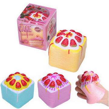 Vlampo Squishy Jumbo Strawberry Cake Bakery Cup Cake Cube Licensed Slow Rising Original Packaging
