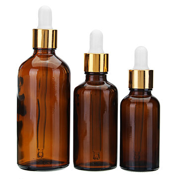 Brown Amber Glass Bottle Glass Dropper Dropping Bottle Refillable Container 30mL 50mL 100mL