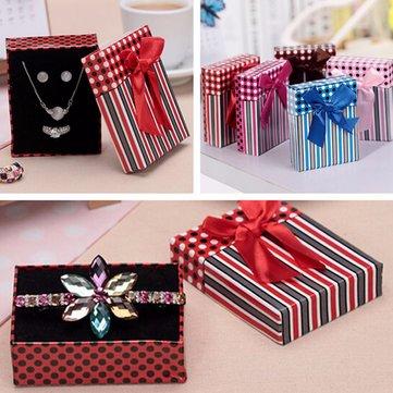 Cardboard Bowknot Spot Stripe Necklace Earrings Ring Jewelry Box