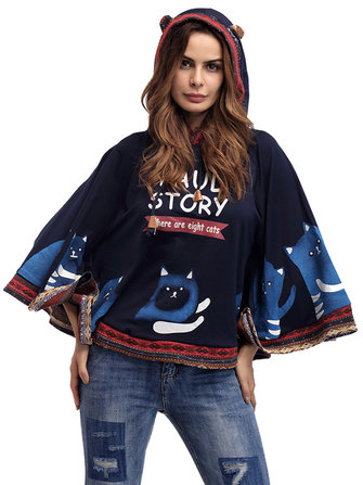 Casual Women Cartoon Batwing Sleeve Hooded Sweatshirt