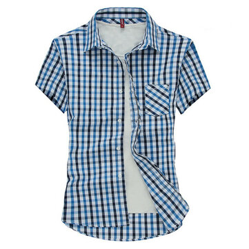 Summer Business Shirts Casual Mens Shorts Sleeve Slim Fit Plaid Button Shirts