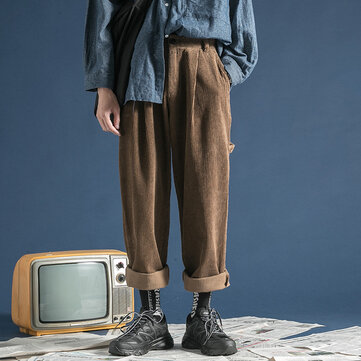 Mens Vintage Winter Corduroy Loose Cargo Multi Pockets Straight Leg Pants