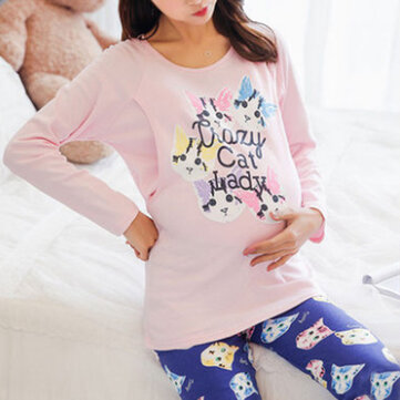Soft Cotton Long sleeves Leisure Tracksuit Set Breastfeeding Maternity Sleepwear