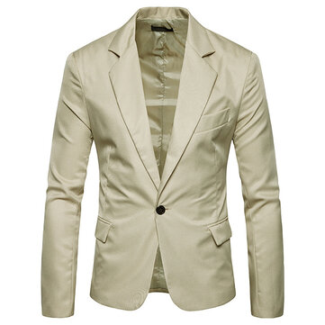 Mens Pure Color Slim Fit Busniess Casual Suit Blazers