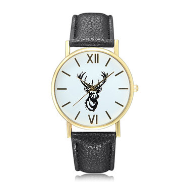 Cute Lovely Deer Pattern PU Leather Band Analog Quartz Women Wrist Watch