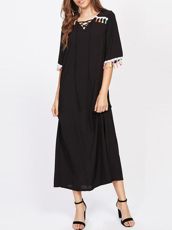 Sexy Women Long Black Dress V-Necklace Up Tassel Trim Maxi Dresses