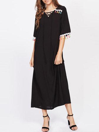 Sexy Mujer Long Black Vestido V-Necklace Up Tassel Trim Maxi Vestidoes