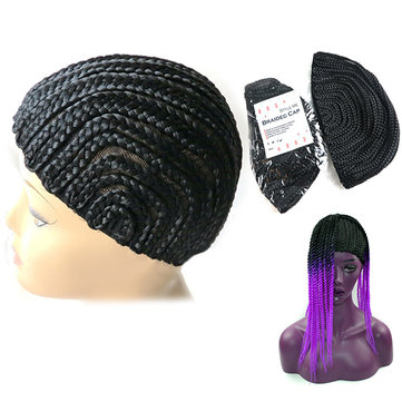 Elastic Cornrow Wig Cap Adjustable Crochet Braided Weaving