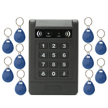 Electronic RFID Card Door Access Control Keypad Password Code Lock +10 ID Keyfob