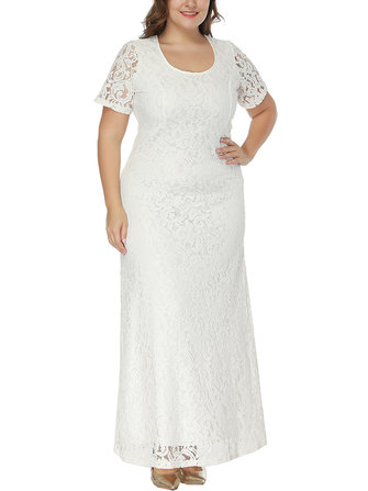 Plus Size Elegant Lace Hollow Out Short Sleeve Party Dress