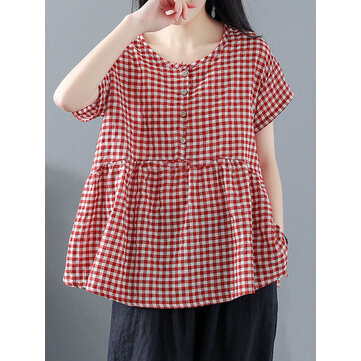 Vintage Women Short Sleeve O-Neck Button Plaid Blouse