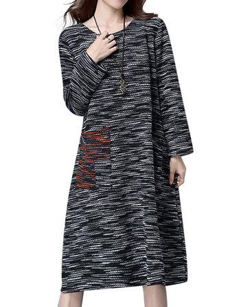 ElegantPatchworkกระเป๋าสะพายแขนยาวถักเสื้อกันหนาวผู้หญิง