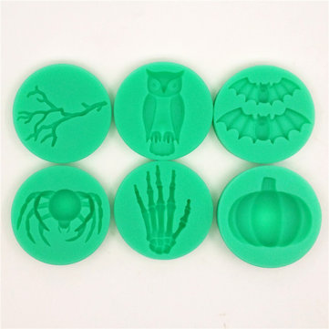 Halloween Silicone Branch Owl Bat Spider Skeleton Hand Pumpkin Fondant Cake Mold Chocolate Mold